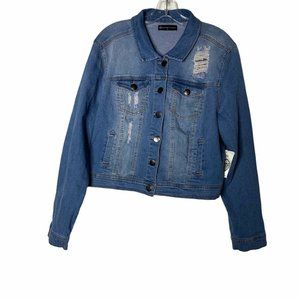Fashion To Figure Distressed Jean Jacket Button Up